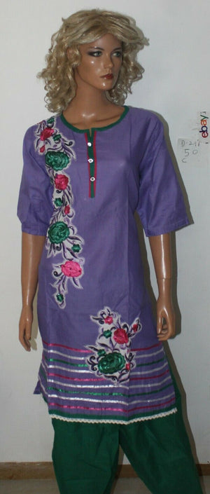 Load image into Gallery viewer, Purple Designer Short sleeves Cotton Summer  Salwar kameez Stitched Plus size 50
