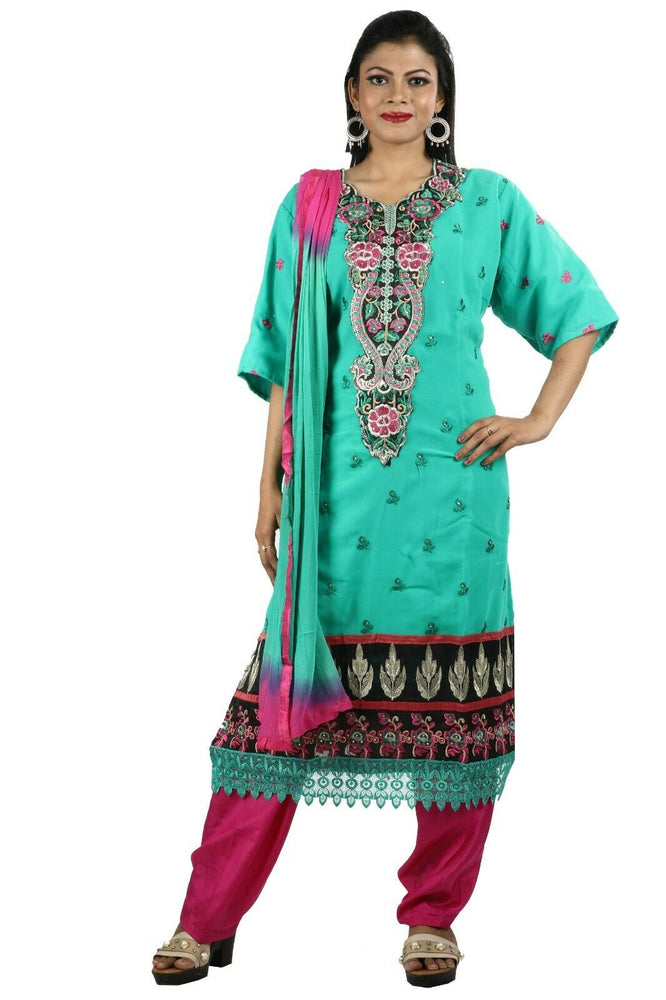 Load image into Gallery viewer, Green Traditional Wedding Party Wear  Designer Salwar Kameez chest  Plus size 54