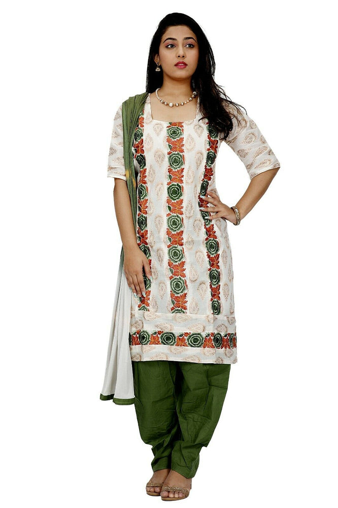 Load image into Gallery viewer, Cream Embroidered Designer Cotton Traditional Dress Salwar kameez chest size 52