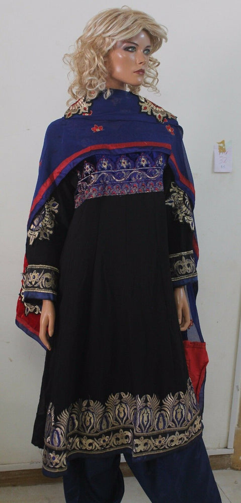 Black Blue  Crepe Indian Anarkali  Salwar kameez Chest  Size 46  New Arrivals