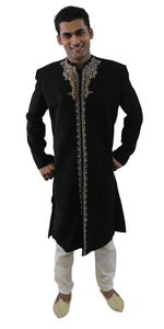 Designer Black Men's Sherwani Indo-Western Jacket Blazer | Formal Black Men Royal Sherwani