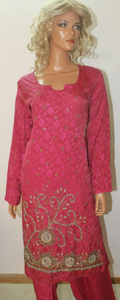 Load image into Gallery viewer, Hot Pink Hand Beaded Self Floral Print Pure Crepe Wedding  Salwar kameez size 50