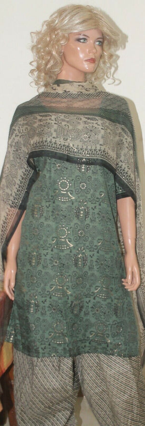 Load image into Gallery viewer, Green Designer  Printed  Crepe  Salwar kameez Plus Chest Size 54