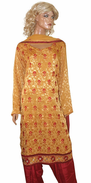 Yellow  Red   Designer Crepe  Salwar kameez Plus Size 52 New Arrivals Ap45