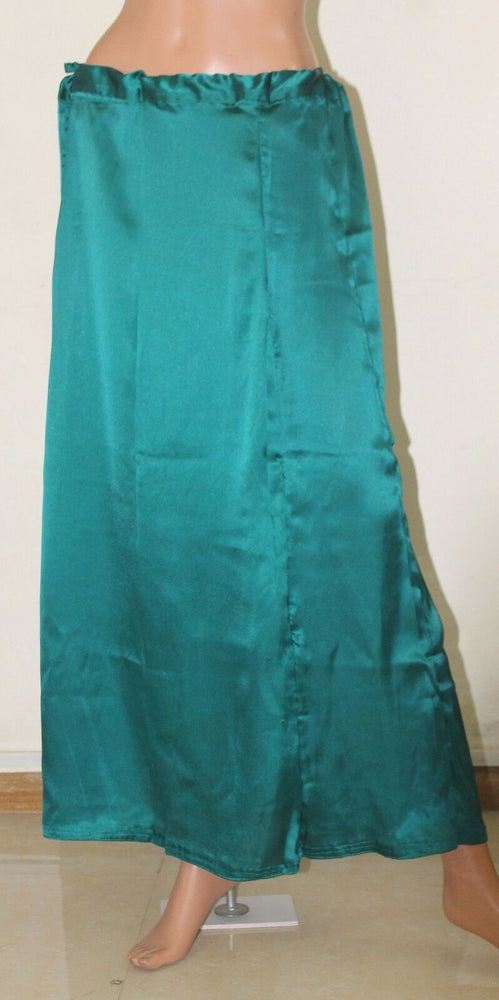 Load image into Gallery viewer, Teal   Luxurious soft satin skirt sari Petticoat Underskirt belly dancing  slip