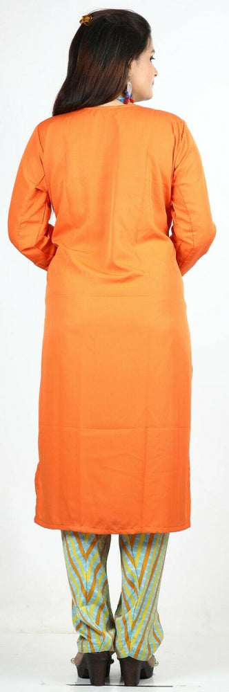 Load image into Gallery viewer, Orange Crepe  Summer  Salwar Kameez Plus chest 48  Stitched Ready to Wear