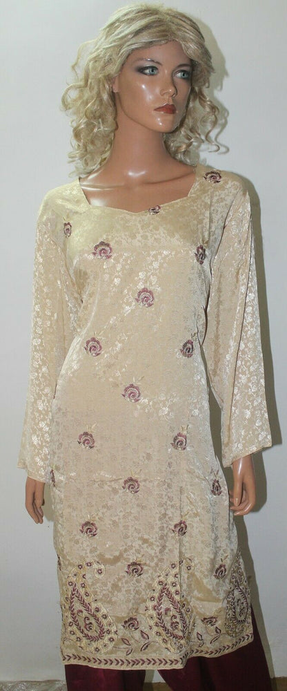 Cream  Embroidered  Crepe High quality  Collections  Salwar kameez Chest Size 52