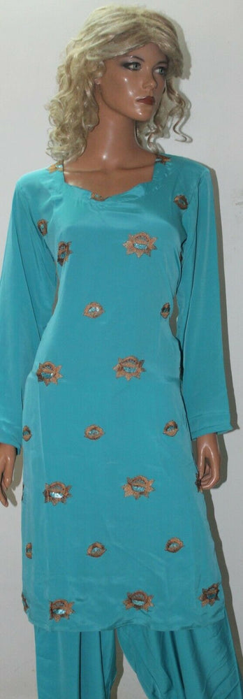 Load image into Gallery viewer, Blue Embroidered   Salwar kameez size 42