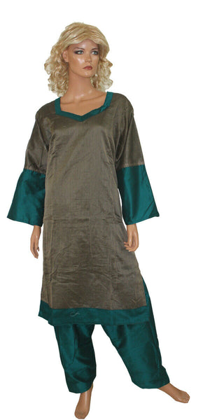 Load image into Gallery viewer, Grey Emerald Green  Cotton Silk  Stitched  Salwar kameez Suit   Plus size 56