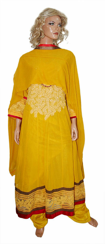 Yellow  Stitched Exclusive Pakistani Embroidered  Designer Anarkali Dress