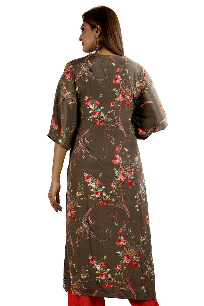 Load image into Gallery viewer, Brown  Soft Crepe Women Favorite Dress  salwar kameez Plus size 56 New arrivals