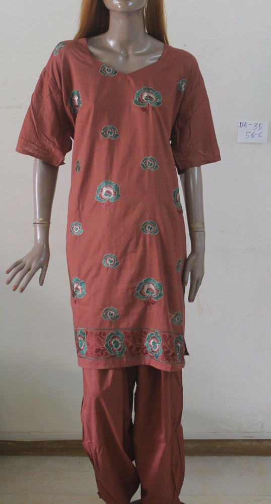 Brown Cotton Party Wear Salwar Kameez  Dupatta DA-35 Plus size 56  New arrivals