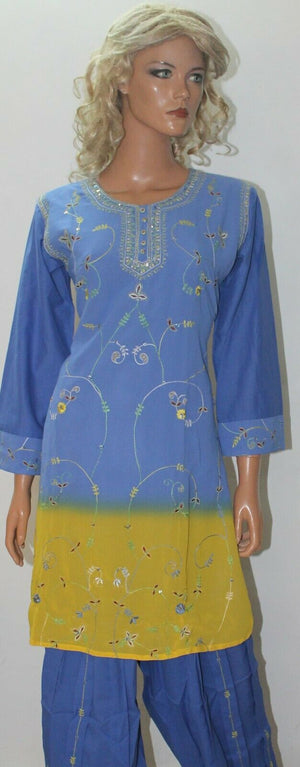 Blue Yellow  Salwar Suit Set By Inayah Patel chest size 38
