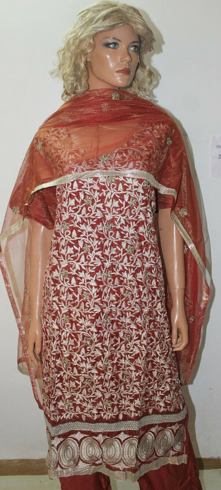 Red Net Embroidered  Designer salwar kameez  Plus size  54 New