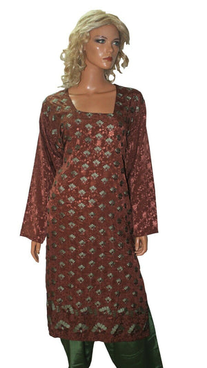 Brown and Green wedding party Designer salwar kameez French crepe Plus sz 52