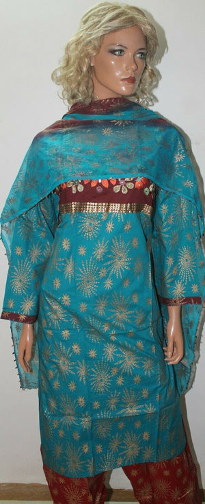 Blue  Exclusive Cotton Designer Asian Ladies Wear  salwar kameez Chest 44