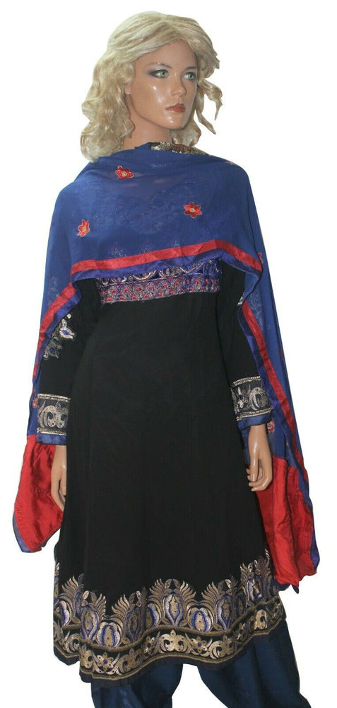 Black Boutique  Chiffon Ready Made Anarkali chest 46  Stitched  Fast ship New
