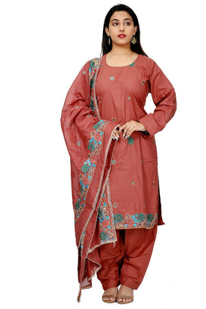 Brown  Embroidered  Cotton Bollywood  Collections  Salwar kameez Plus Size 56