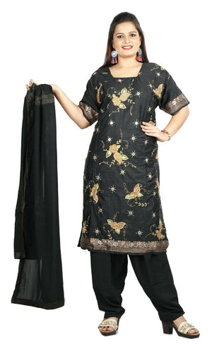 Black Boutique Wedding Silk  Designer salwar kameez  Plus size 52