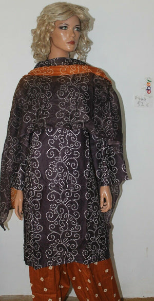 Load image into Gallery viewer, Brown Stitched Dress lawn  Cotton Summer  Salwar kameez Stitched Plus size 52