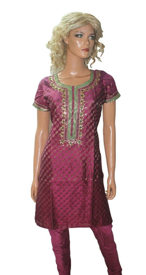 Load image into Gallery viewer, Purple   Ready To  Wear Salwar Kameez  chest size 36 Short sleeves Churidar
