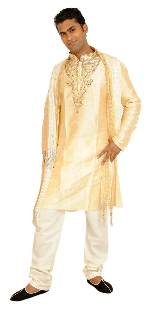 Gold Exclusive Formal silk Mens Kurta salwar w matching shawl Embroidery beads