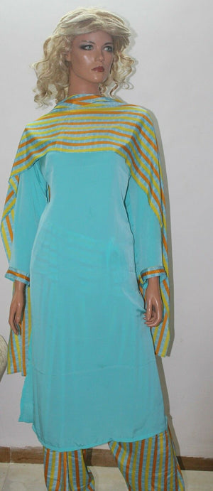 Load image into Gallery viewer, Blue Casual Wear Noor Dress Salwar kameez Indian Clothing Plus Size 48