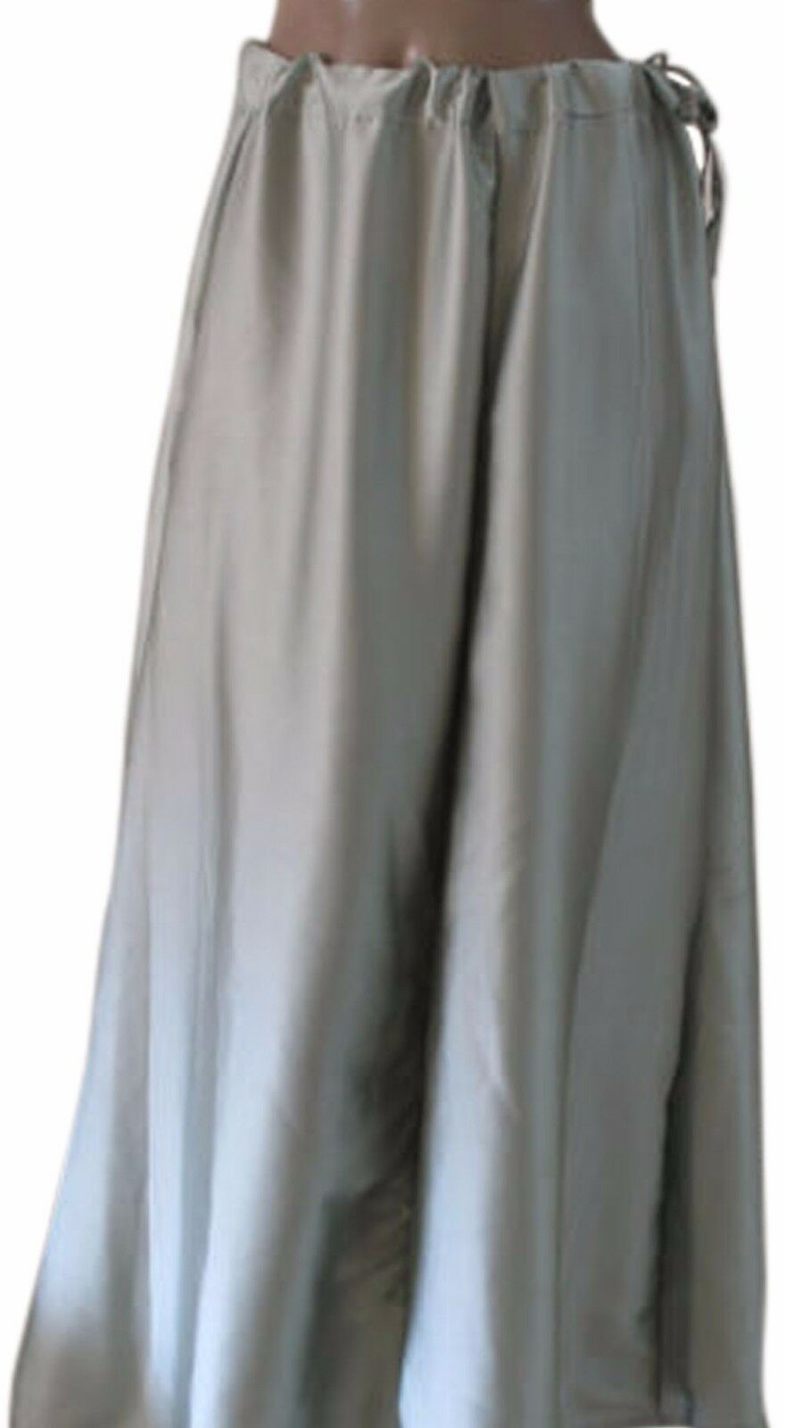 Grey  Luxurious soft satin skirt sari Petticoat Underskirt belly dancing  slip