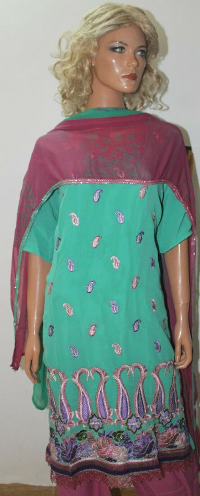 Load image into Gallery viewer, Jade & Dusty Pink  Catlog Embroidered Dress  Suit  Salwar kameez  Plus size 56