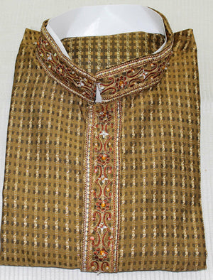 Brown Designer Men Kurta Pajama  Wedding Shirt Free Shawl Medium