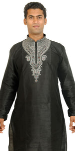 Black silk Exclusive Formal Mens Kurta salwar w matching shawl Embroidery beads
