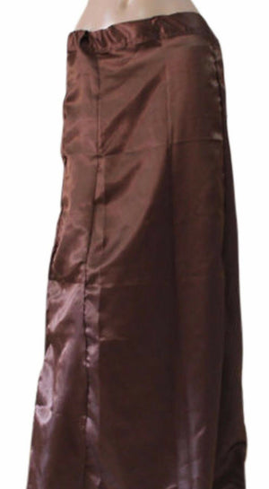 Brown  Satin Indian saree Petticoat Underskirt belly dancing Lehanga slip Sari