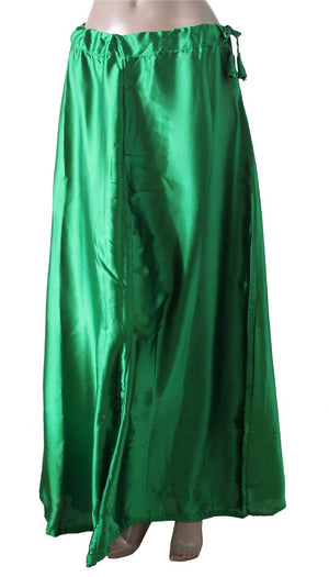Green soft satin skirt saree Petticoat Underskirt belly dancing  slip