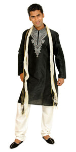 Exclusive Black Men's Kurta Salwar with Matching Beads Shawl | Ethnic Black Men's Kurta Salwar