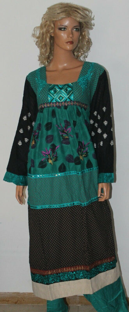 Load image into Gallery viewer, Green Boutique Wear Cotton Summer Salwar suit Anarkali  Dress Plus size 52