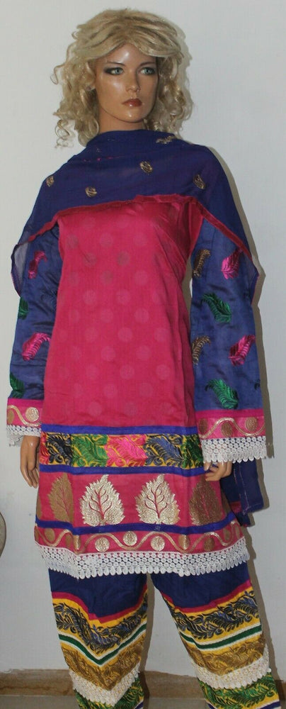 Load image into Gallery viewer, Pink Boutique Wear Embroidered Stitch Cotton Summer  Salwar kameez  Plus size 52
