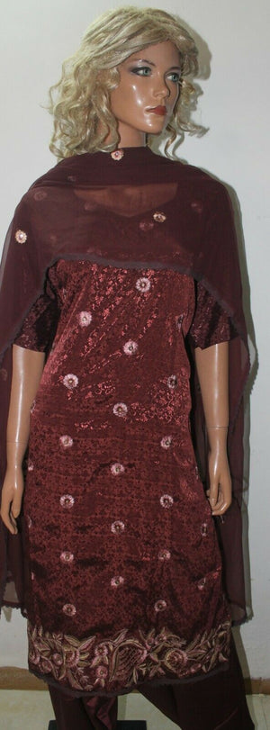 Brown  fancy  salwar suit Stylish Indian Wedding Party Wear plus Sz 54