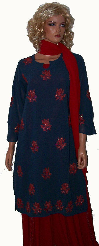 Stale Grey Red  Embroidered Stitched  Collections  Salwar kameez Chest Size 40