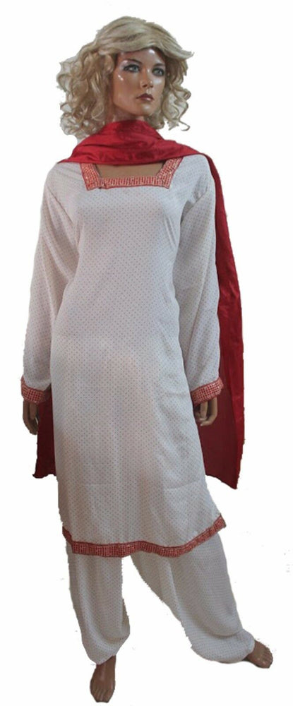 Load image into Gallery viewer, White  Red Designer  Salwar Kameez  Dupatta Chest Plus sizes