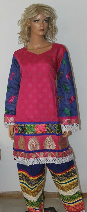 Pink Boutique Wear Embroidered Stitch Cotton Summer  Salwar kameez  Plus size 52