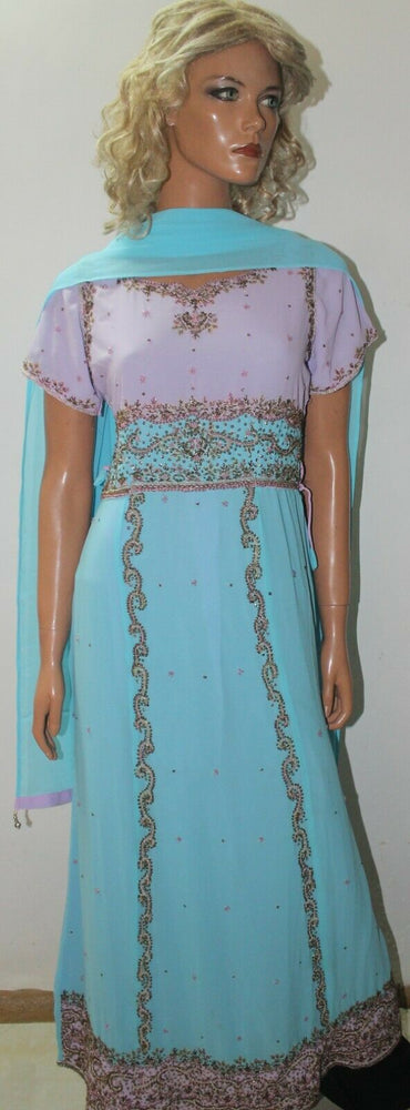 Blue Kurta  Ready to Wear Long Gown Anarkali chest 38  Fast ship New Two Piece