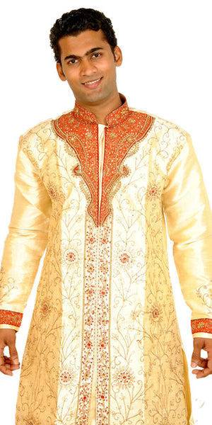 Designer Gold Men's Sherwani with Matching Beads Shawl | Ethnic Gold Men's Sherwani