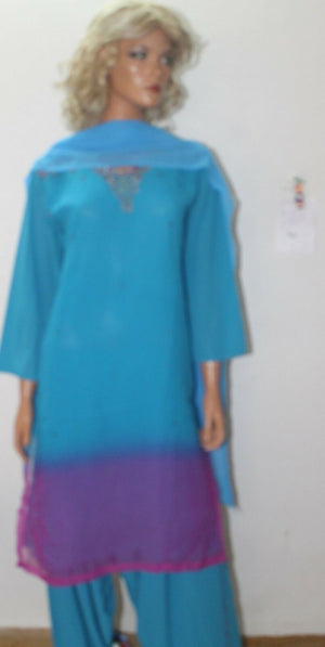 Load image into Gallery viewer, Blue Chiffon  Salwar Suit Set By Inayah Patel chest size 40