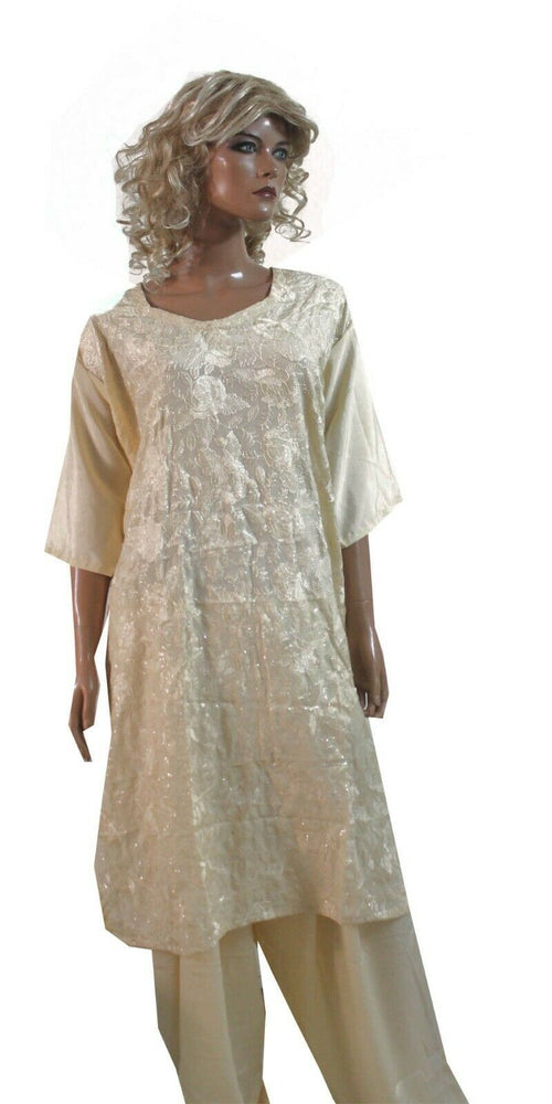 Ivory  Embellished & Embroidered Suit Designer Crepe Salwar kameez  Plus size 56