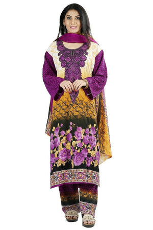 Purple Printed Designer  Salwar kameez Chest Plus  size 52  Fast ship  5 day