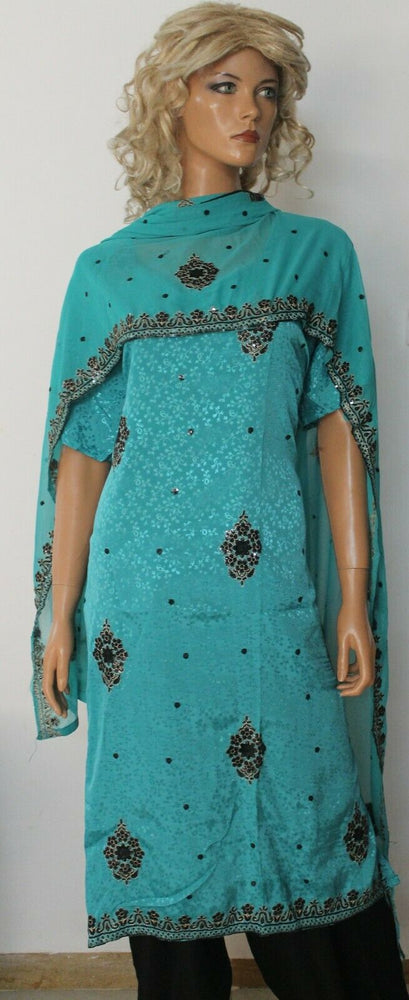 Blue Crepe Embroidered Wedding Party Ready Wear  Salwar kameez Plus size 56