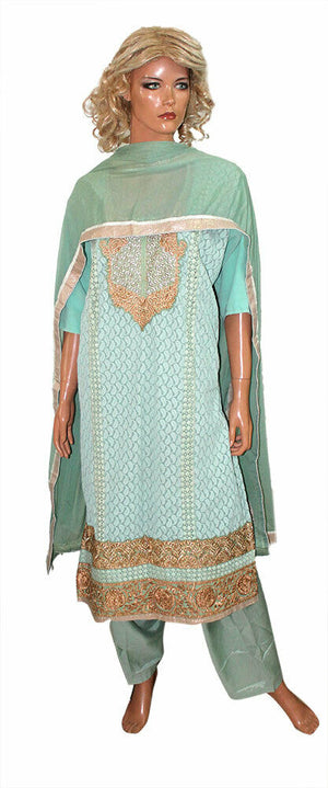 Green Embroidered Exclusive Pakistani dress Crepe Designer  Chest size 52