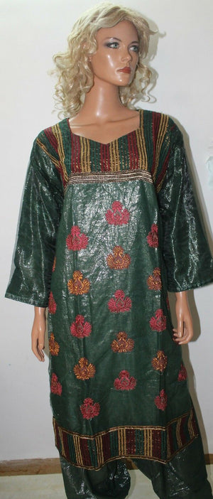 Green Shimmer Cotton  Salwar Suit Set By Inayah Patel chest size 42