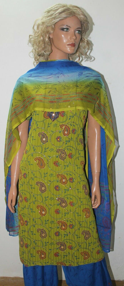 Green Embroidered crepe  Ready wear Stitched  Salwar kameez dress Plus size 50