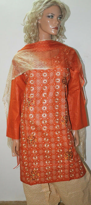 Rust Embroidered  Cotton Summer  Collections  Salwar kameez Chest Size 46